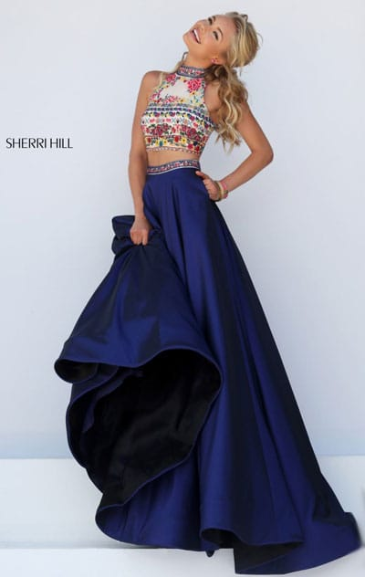Two Piece Keyhole Sherri Hill 50080 Beaded Patterned Navy/Multi High Neckline Long Satin Prom Dresses 2016